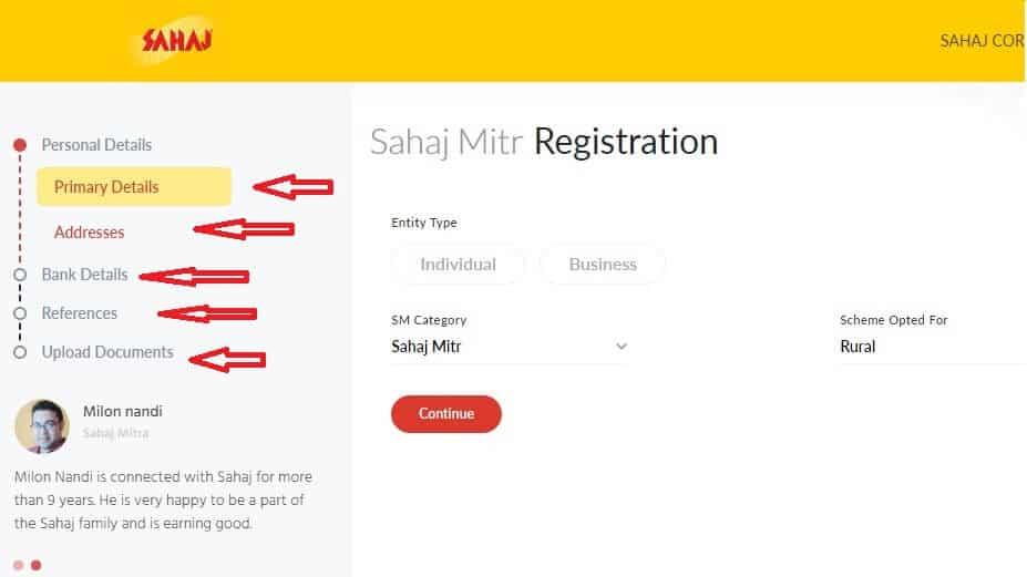 Sahaj registration process